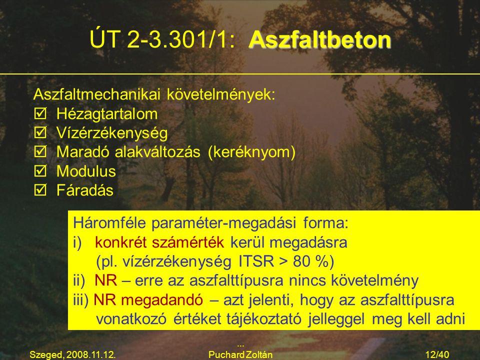 ÚT 2-3.301/1: Aszfaltbeton Aszfaltmechanikai követelmények: