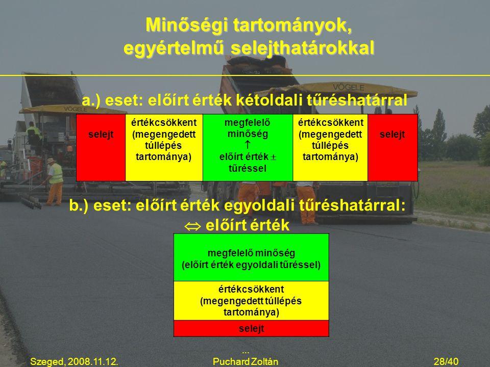 Minőségi tartományok, egyértelmű selejthatárokkal