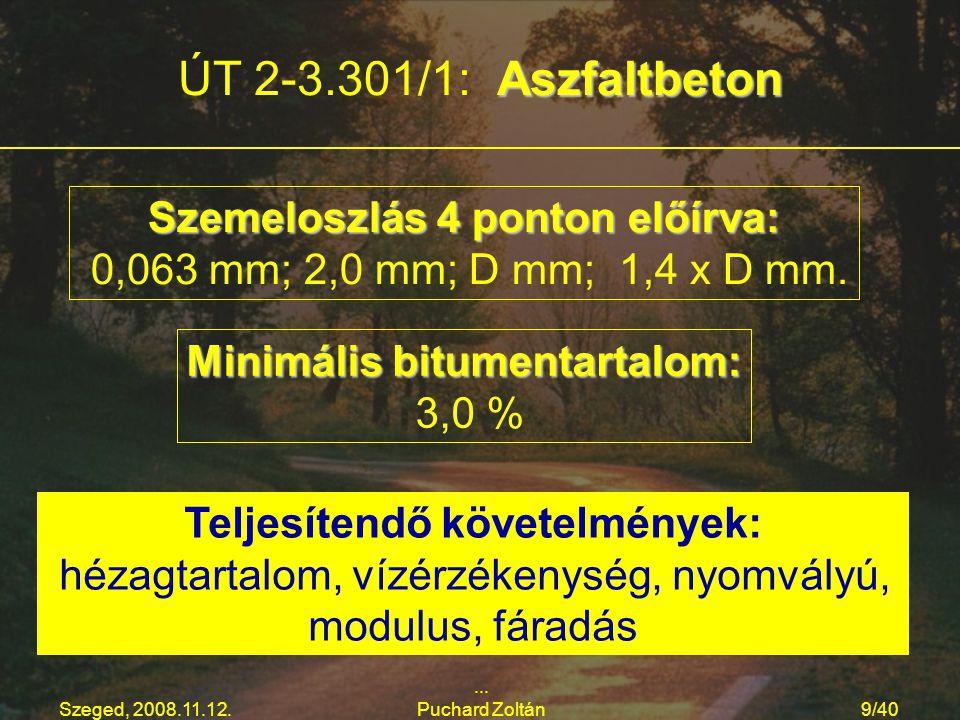 ÚT 2-3.301/1: Aszfaltbeton Szemeloszlás 4 ponton előírva: