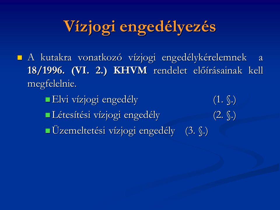 Vízjogi engedélyezés A kutakra vonatkozó vízjogi engedélykérelemnek a 18/1996. (VI. 2.) KHVM rendelet előírásainak kell megfelelnie.