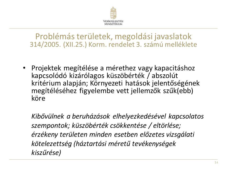 Problémás területek, megoldási javaslatok 314/2005. (XII. 25. ) Korm