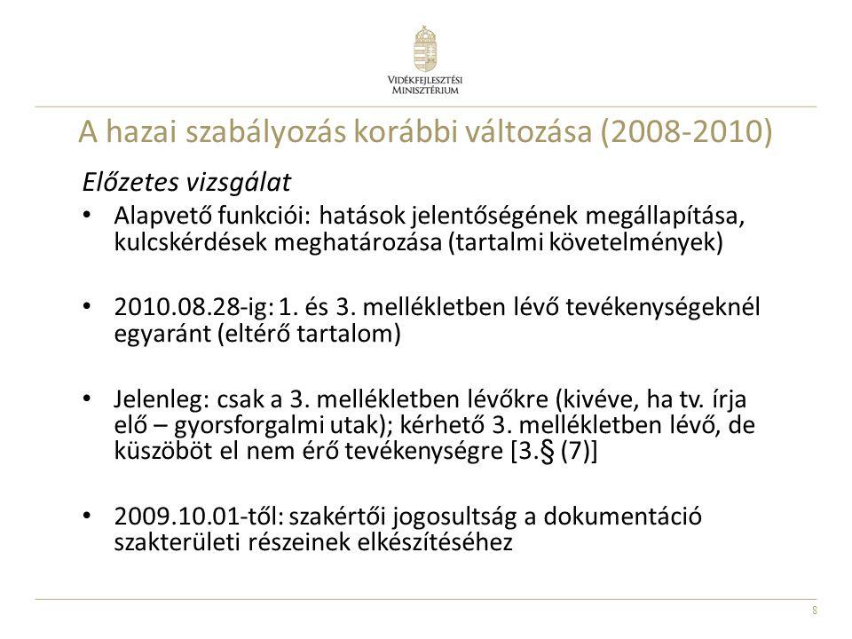 A hazai szabályozás korábbi változása (2008-2010)