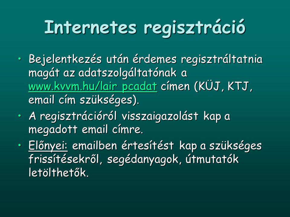 Internetes regisztráció