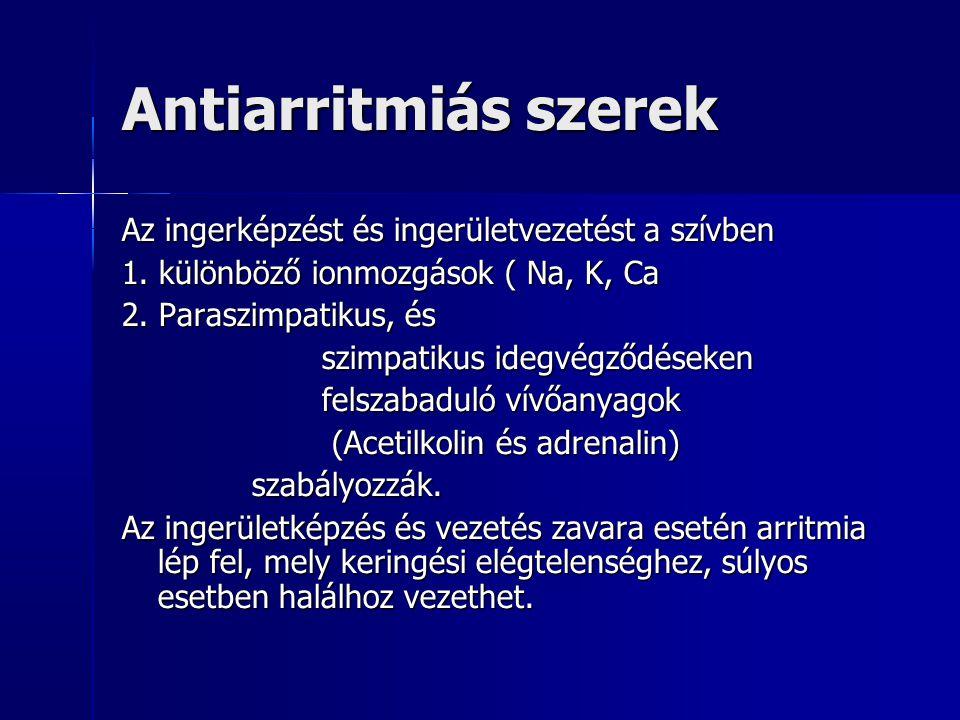 Antiarritmiás szerek Az ingerképzést és ingerületvezetést a szívben