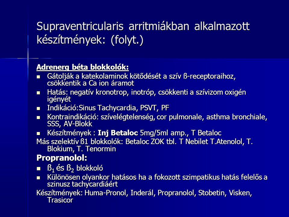 Supraventricularis arritmiákban alkalmazott készítmények: (folyt.)