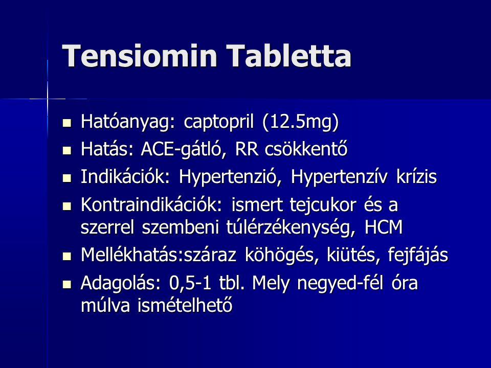 Tensiomin Tabletta Hatóanyag: captopril (12.5mg)