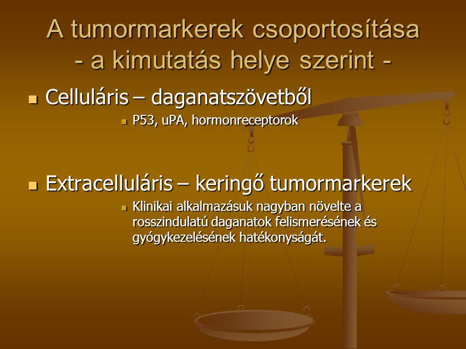 A tumormarkerek csoportosítása - a kimutatás helye szerint -