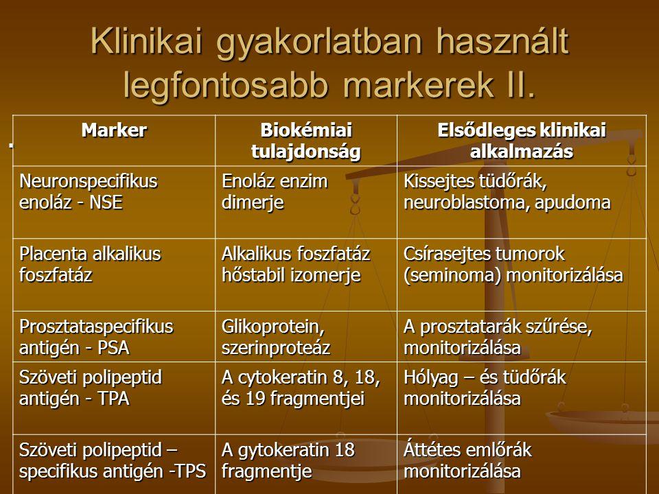 Klinikai gyakorlatban használt legfontosabb markerek II.