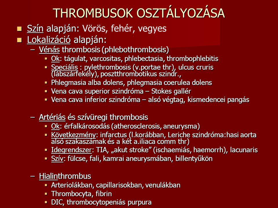 THROMBUSOK OSZTÁLYOZÁSA