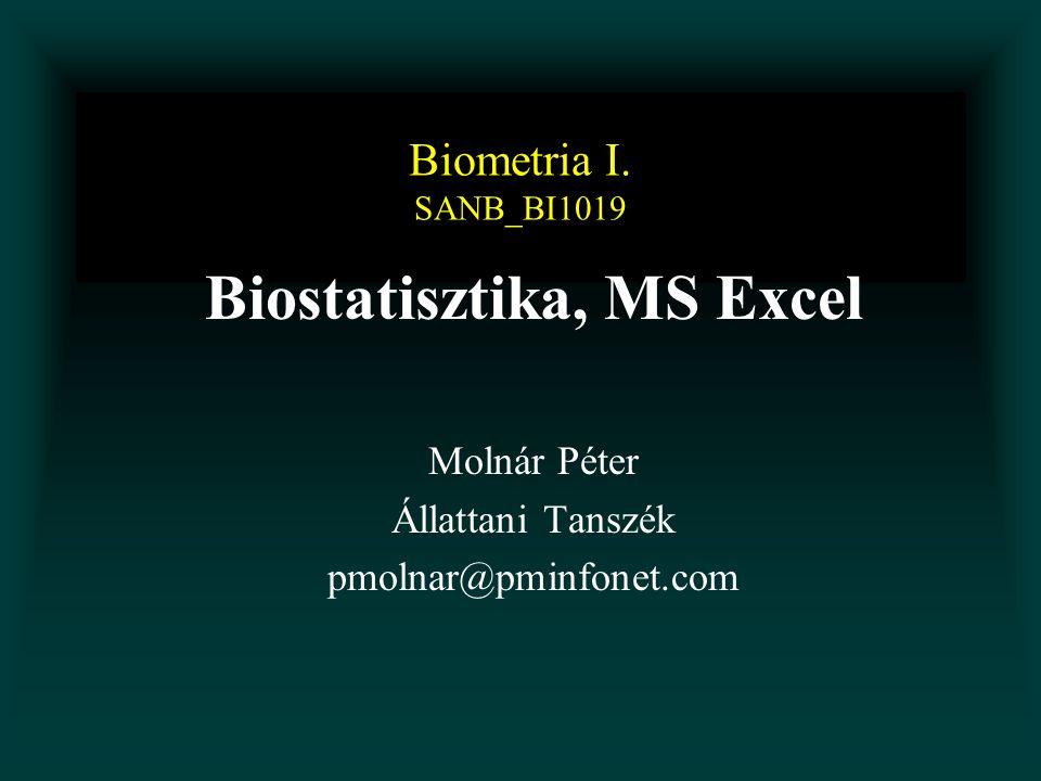Biostatisztika, MS Excel