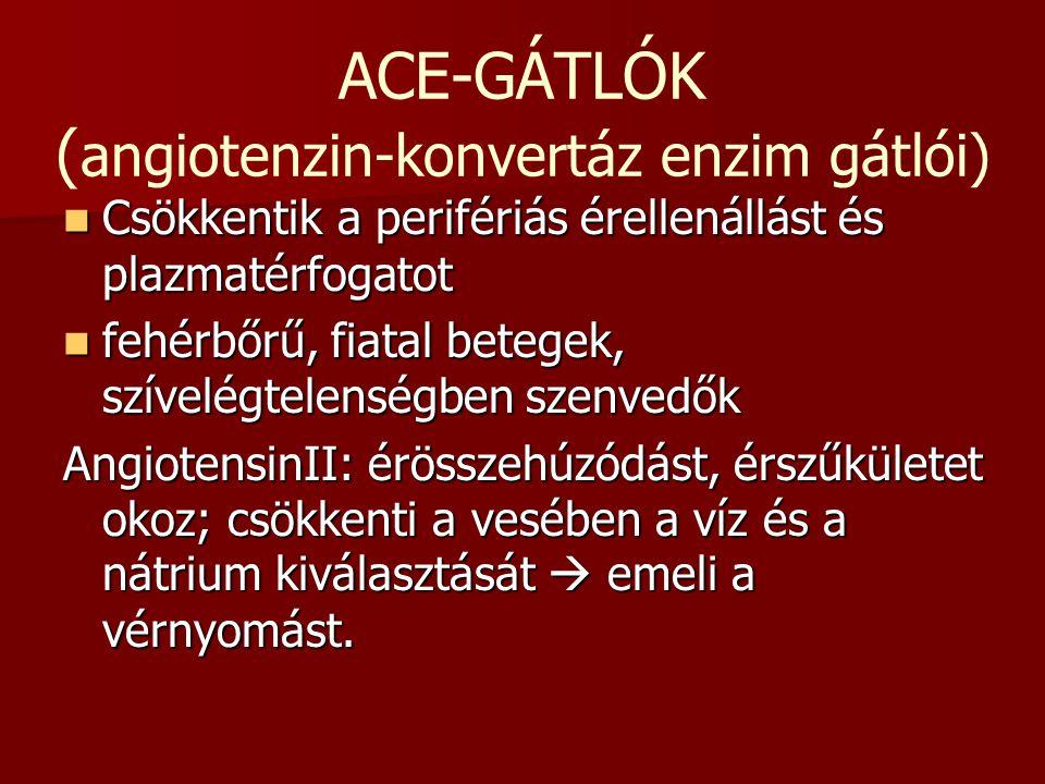 ACE-GÁTLÓK (angiotenzin-konvertáz enzim gátlói)