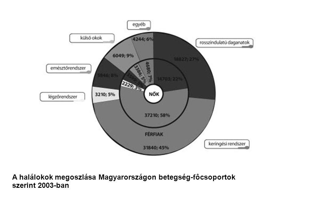 A halálokok megoszlása Magyarországon betegség-fôcsoportok