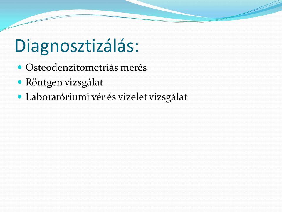 Diagnosztizálás: Osteodenzitometriás mérés Röntgen vizsgálat