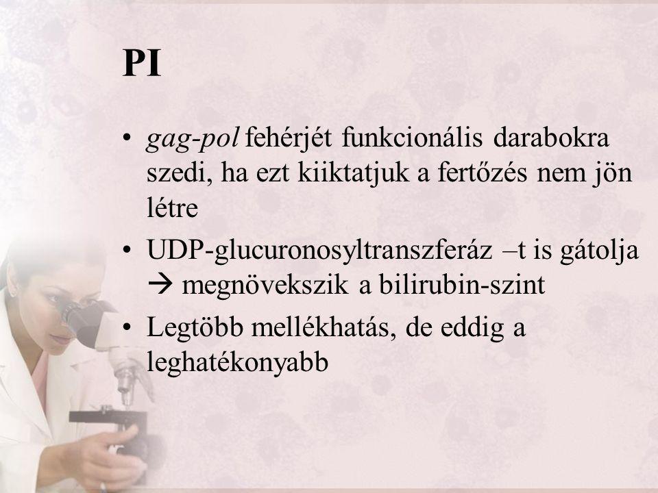 PI gag-pol fehérjét funkcionális darabokra szedi, ha ezt kiiktatjuk a fertőzés nem jön létre.