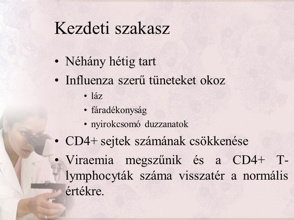 Kezdeti szakasz Néhány hétig tart Influenza szerű tüneteket okoz