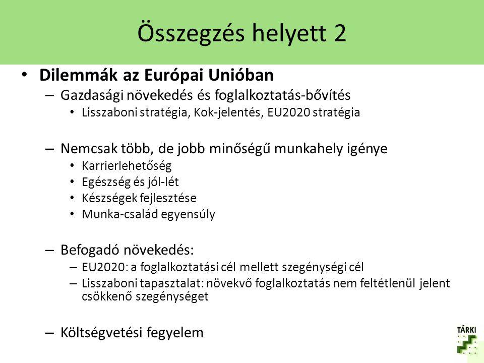 Összegzés helyett 2 Dilemmák az Európai Unióban