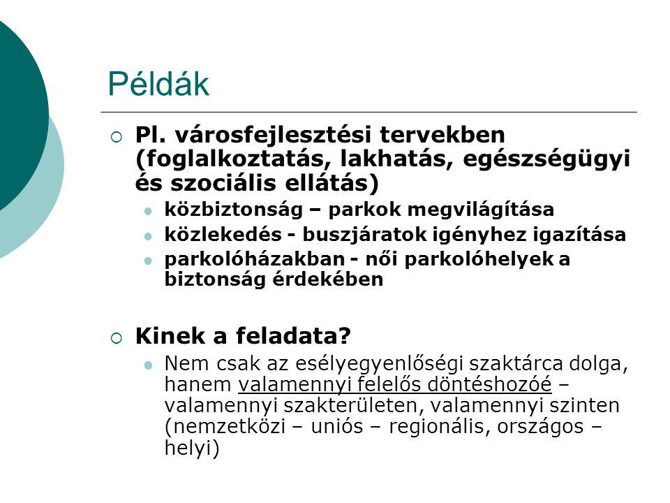 Példák Pl. városfejlesztési tervekben (foglalkoztatás, lakhatás, egészségügyi és szociális ellátás)