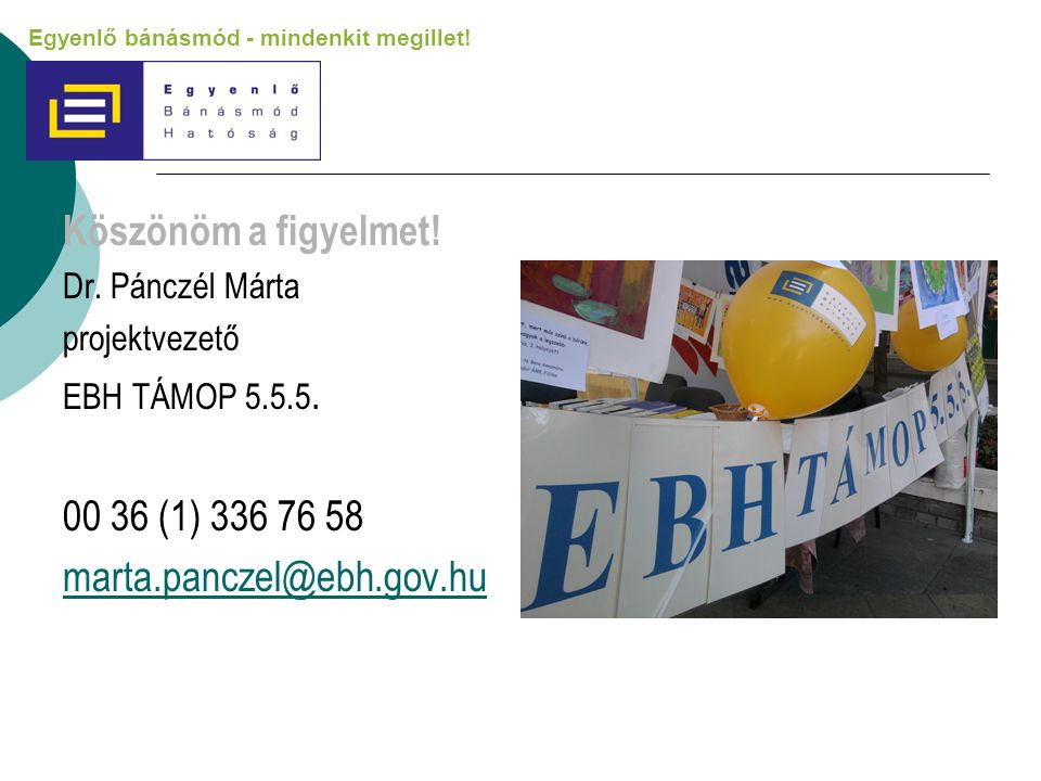 Köszönöm a figyelmet! 00 36 (1) 336 76 58 marta.panczel@ebh.gov.hu