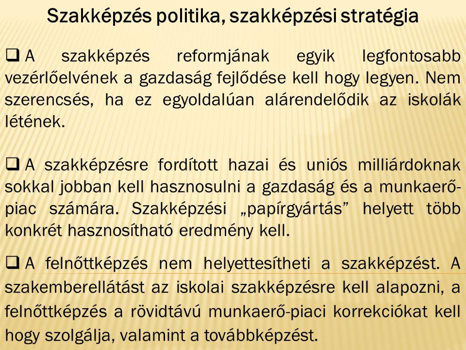 Szakképzés politika, szakképzési stratégia