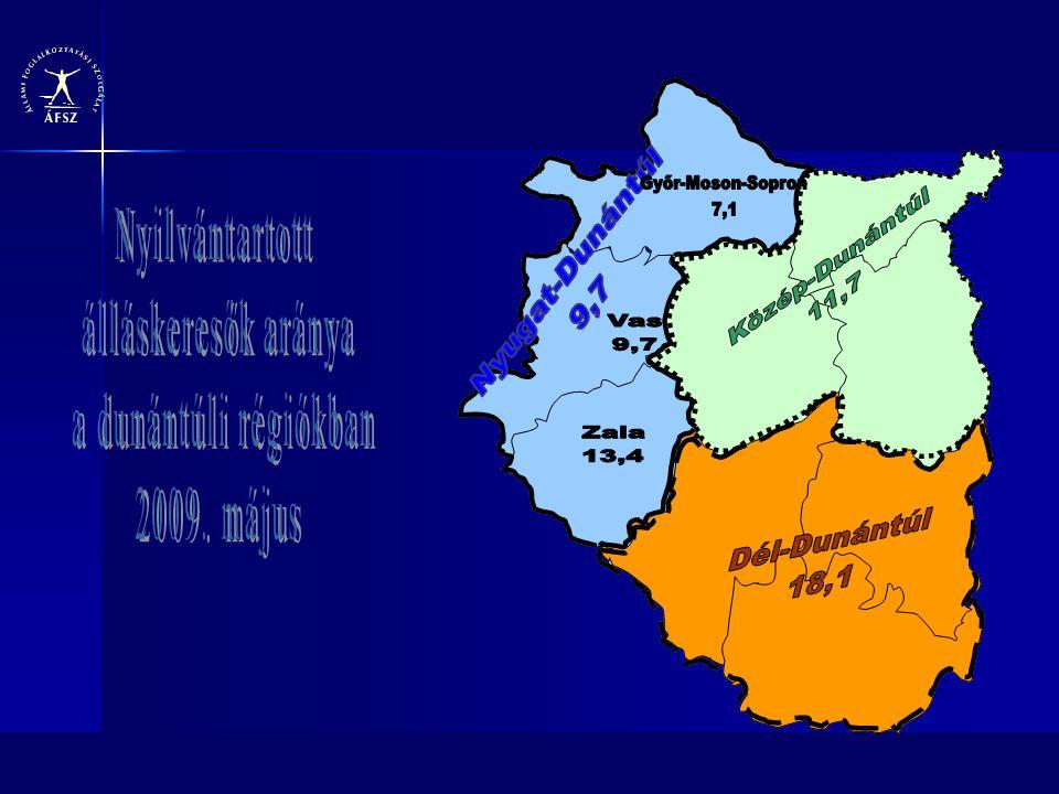 Nyilvántartott álláskeresők aránya a dunántúli régiókban 2009. május