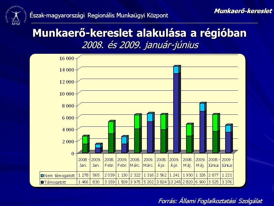 Munkaerő-kereslet alakulása a régióban 2008. és 2009. január-június