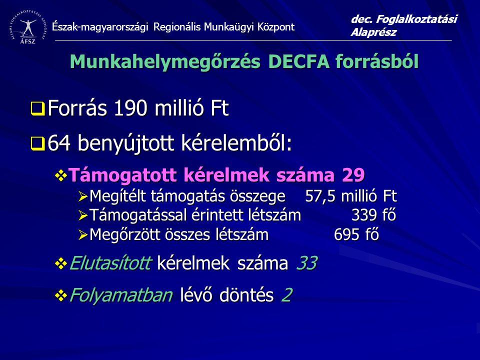 Munkahelymegőrzés DECFA forrásból