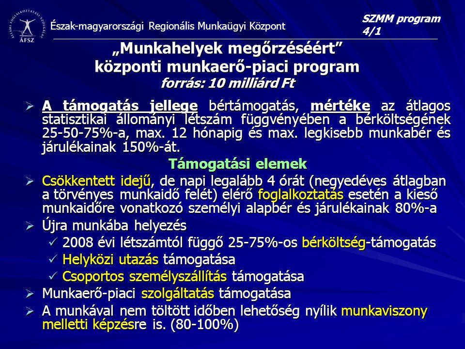 """SZMM program 4/1 """"Munkahelyek megőrzéséért központi munkaerő-piaci program forrás: 10 milliárd Ft."""