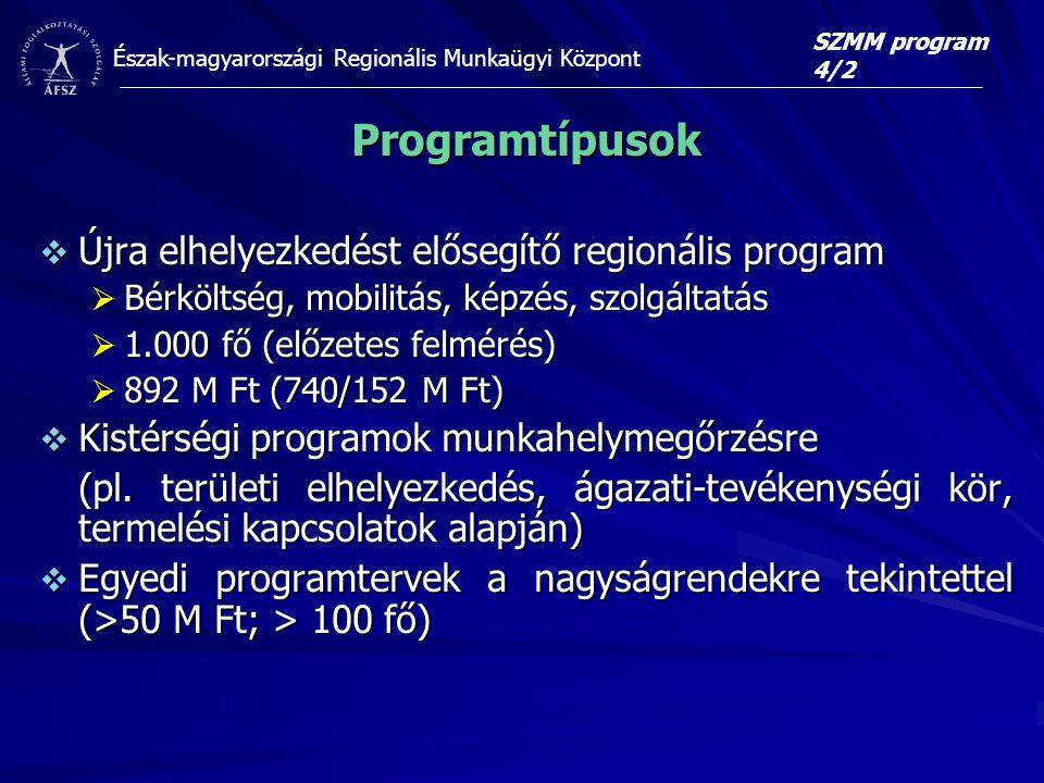 Programtípusok Újra elhelyezkedést elősegítő regionális program