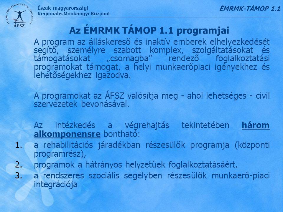 Az ÉMRMK TÁMOP 1.1 programjai