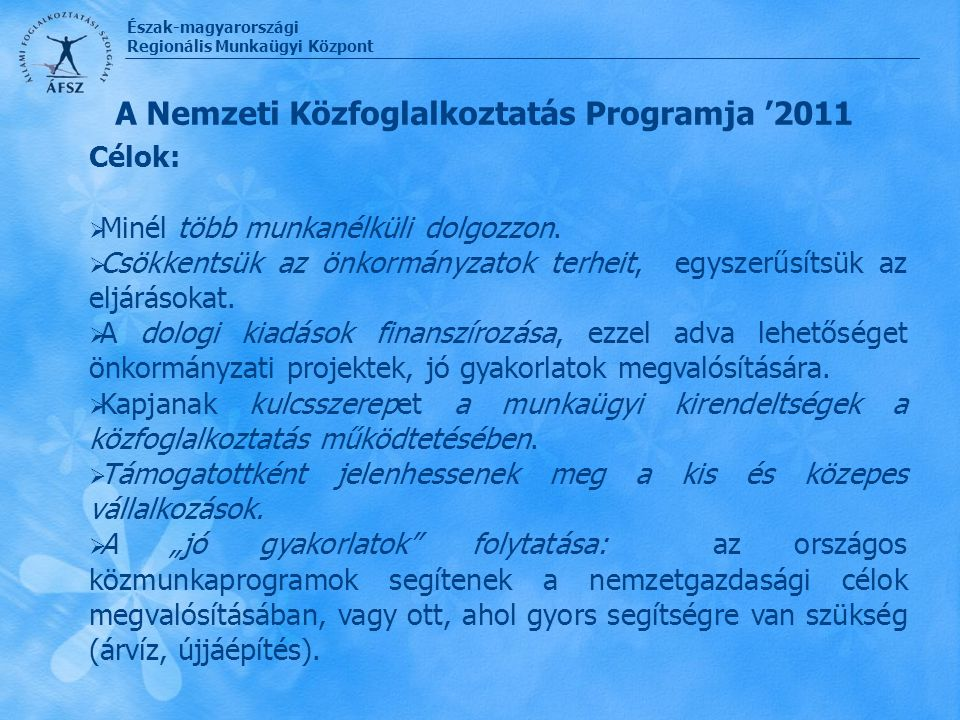 A Nemzeti Közfoglalkoztatás Programja '2011