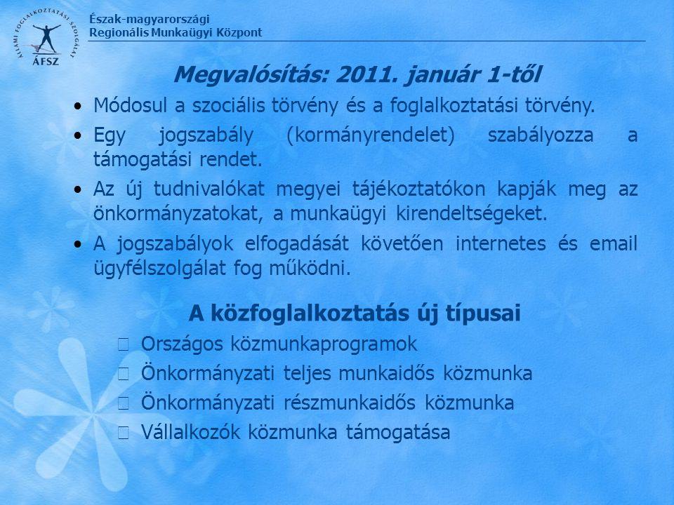 Megvalósítás: 2011. január 1-től