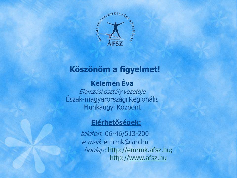 Köszönöm a figyelmet! Kelemen Éva. Elemzési osztály vezetője. Észak-magyarországi Regionális. Munkaügyi Központ.
