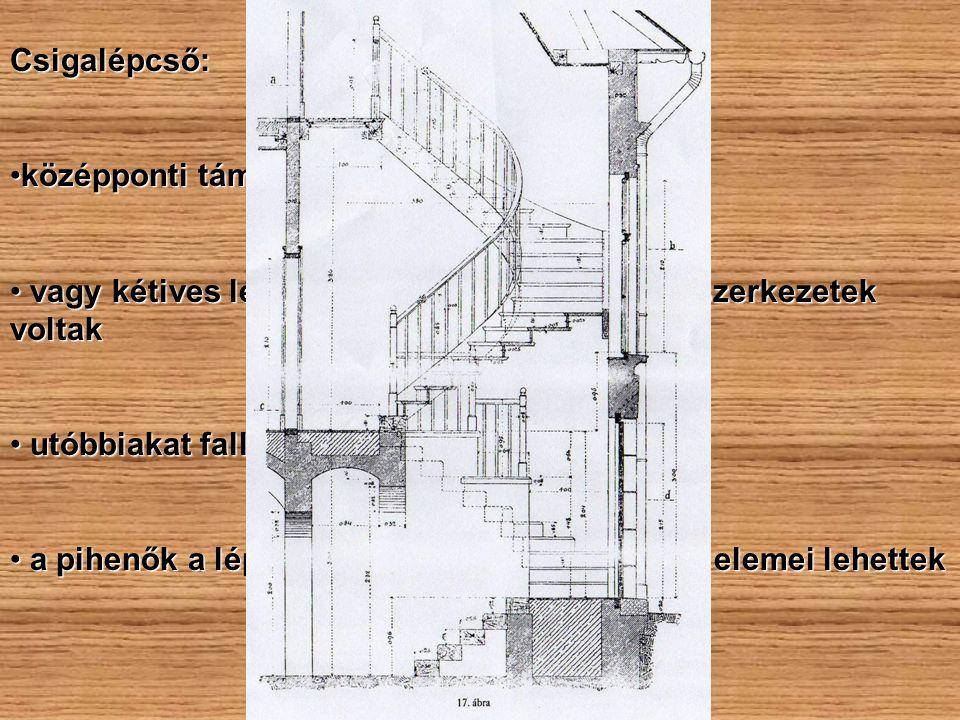 Csigalépcső: középponti támaszra szerkesztett. vagy kétives lépcsőoldalú, üreges orsóterű szerkezetek voltak.
