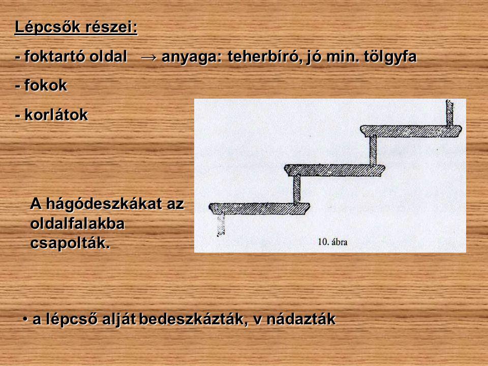Lépcsők részei: - foktartó oldal → anyaga: teherbíró, jó min. tölgyfa. - fokok. - korlátok. A hágódeszkákat az oldalfalakba csapolták.
