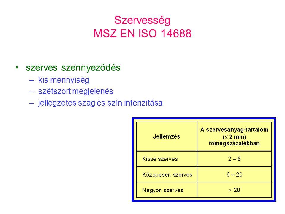 Szervesség MSZ EN ISO 14688 szerves szennyeződés kis mennyiség