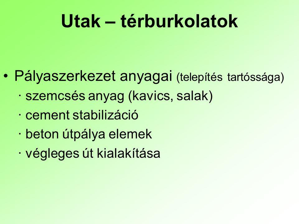 Utak – térburkolatok Pályaszerkezet anyagai (telepítés tartóssága)