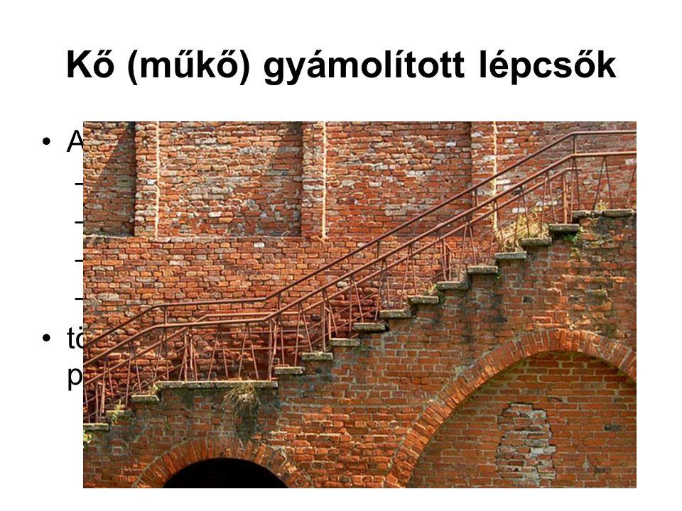 Kő (műkő) gyámolított lépcsők