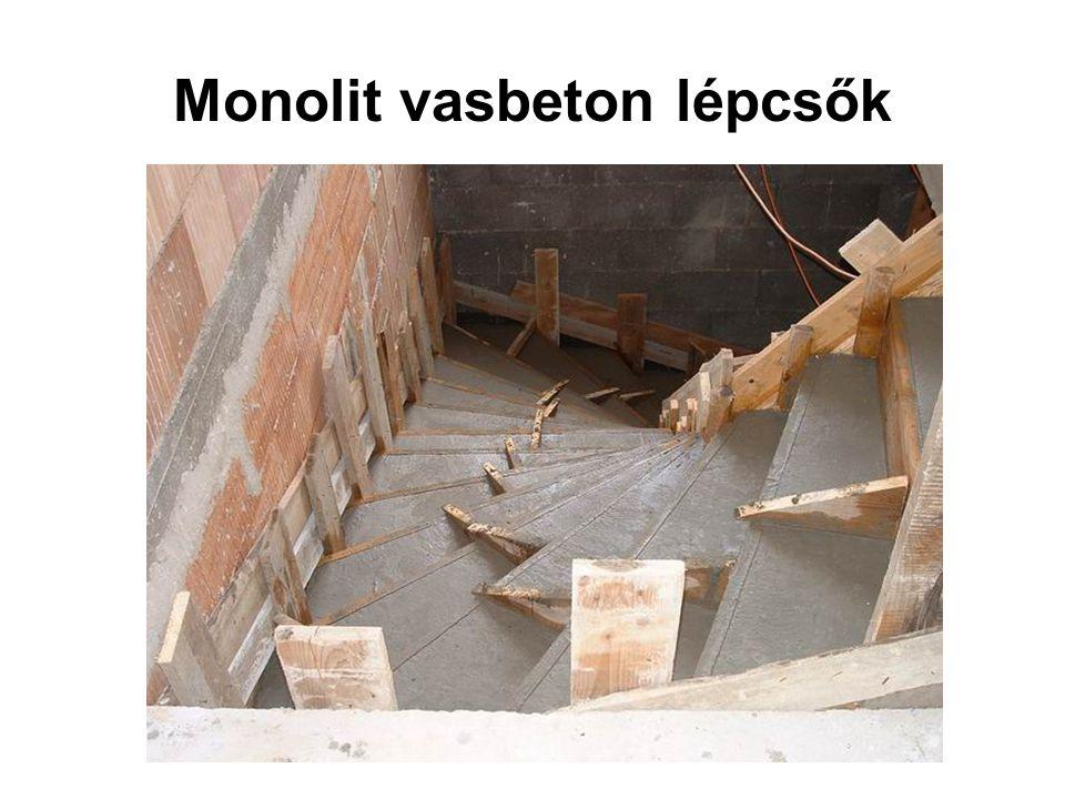 Monolit vasbeton lépcsők