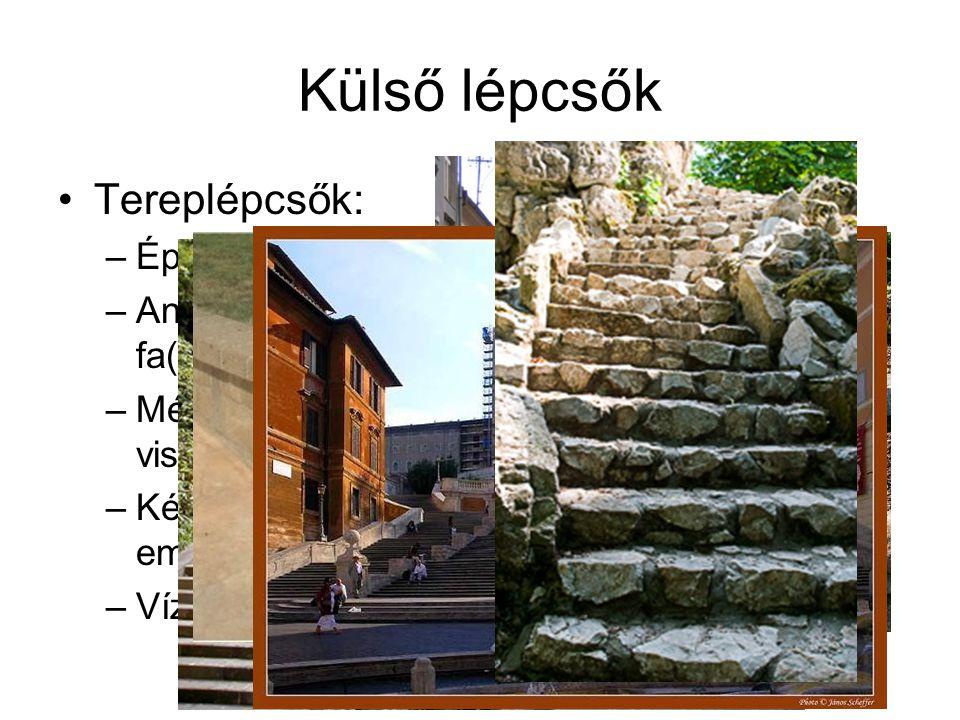 Külső lépcsők Tereplépcsők: Épülettől független, talajon fekvő