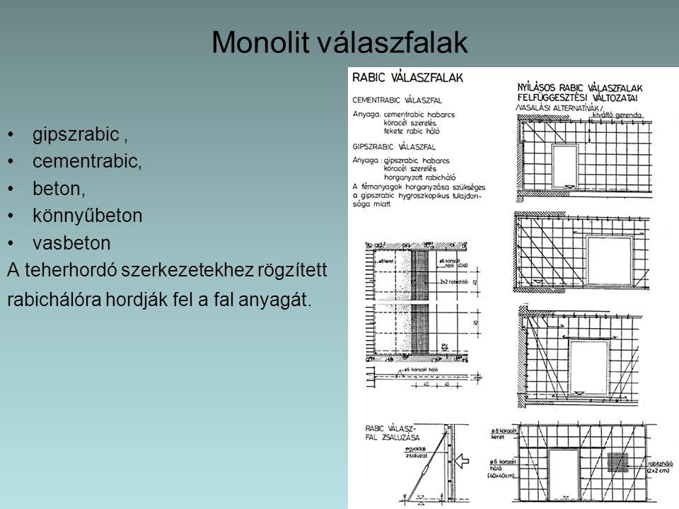 Monolit válaszfalak gipszrabic , cementrabic, beton, könnyűbeton