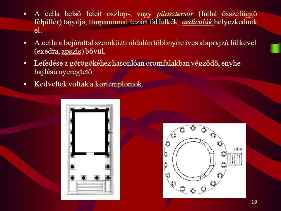 A cella belső feleit oszlop-, vagy pilasztersor (fallal összefüggő félpillér) tagolja, timpanonnal lezárt falfülkék, aediculák helyezkednek el.
