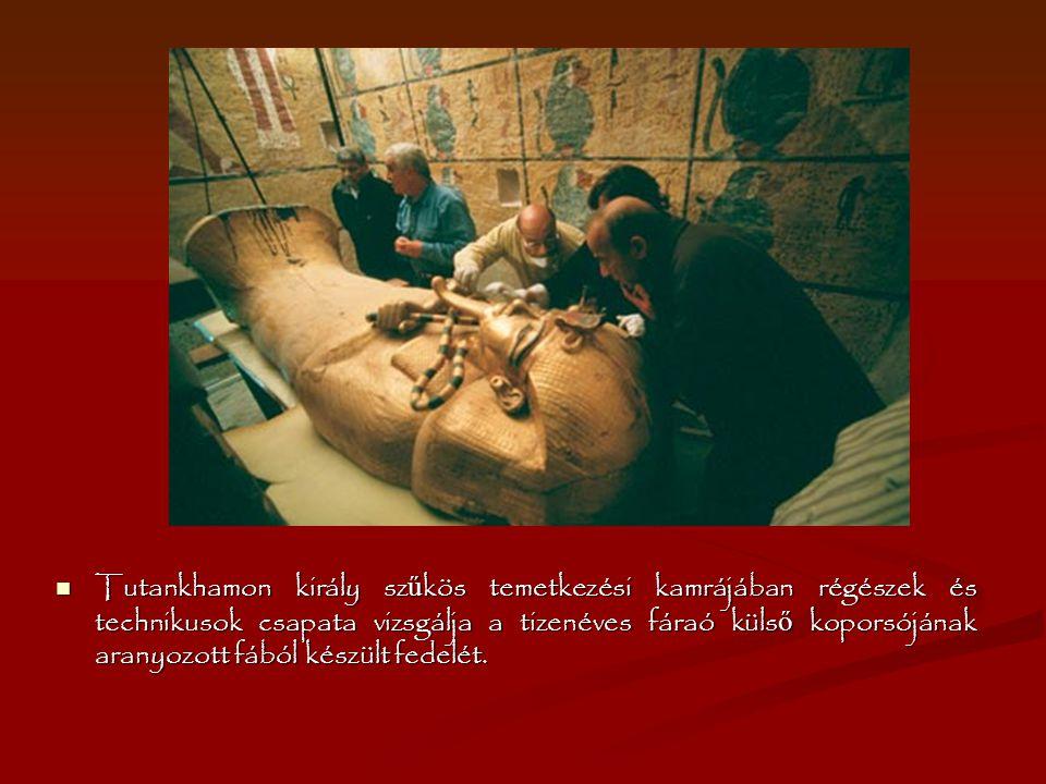 Tutankhamon király szűkös temetkezési kamrájában régészek és technikusok csapata vizsgálja a tizenéves fáraó külső koporsójának aranyozott fából készült fedelét.