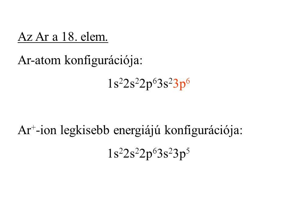 Az Ar a 18. elem. Ar-atom konfigurációja: 1s22s22p63s23p6. Ar+-ion legkisebb energiájú konfigurációja: