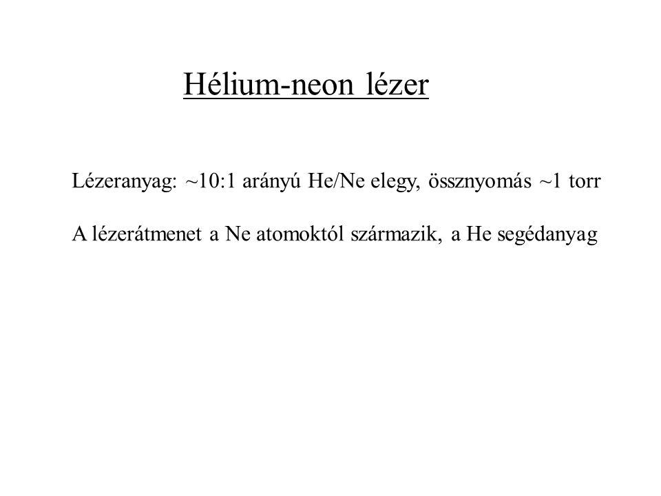 Hélium-neon lézer Lézeranyag: ~10:1 arányú He/Ne elegy, össznyomás ~1 torr.