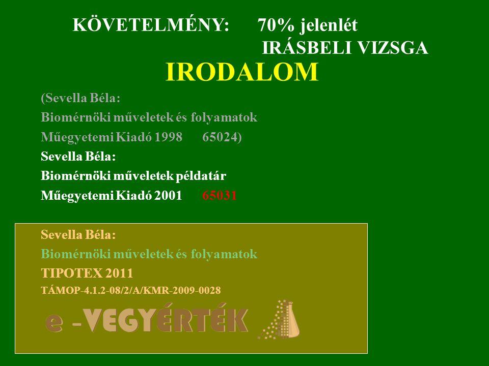 IRODALOM KÖVETELMÉNY: 70% jelenlét IRÁSBELI VIZSGA (Sevella Béla: