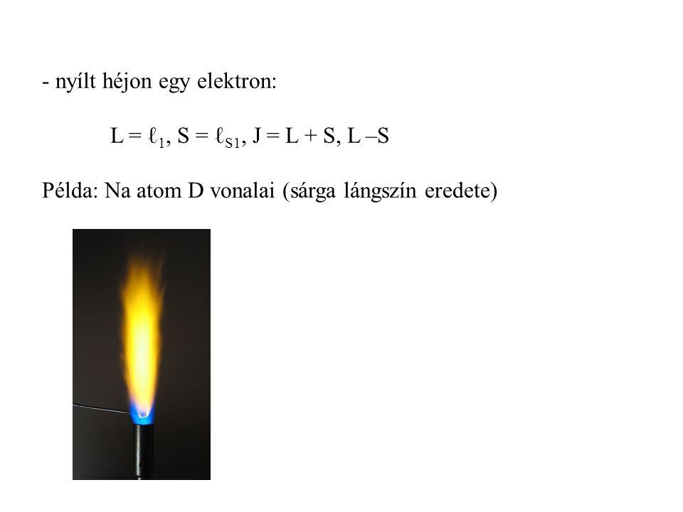 - nyílt héjon egy elektron: