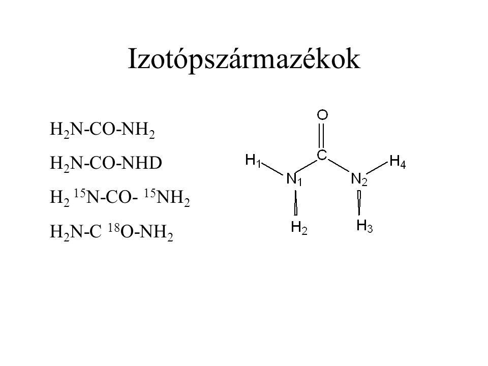 Izotópszármazékok H2N-CO-NH2 H2N-CO-NHD H2 15N-CO- 15NH2 H2N-C 18O-NH2
