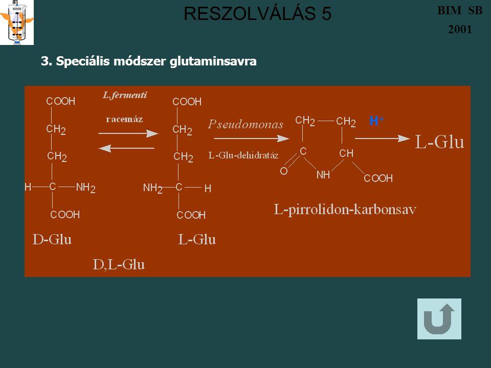 RESZOLVÁLÁS 5 BIM SB 2001 3. Speciális módszer glutaminsavra H+