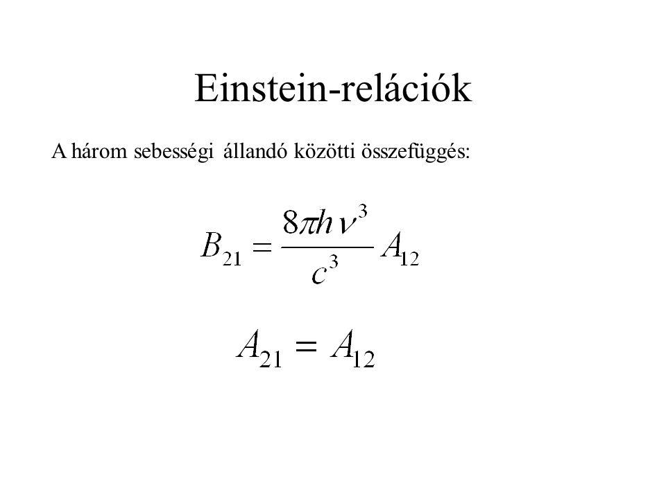Einstein-relációk A három sebességi állandó közötti összefüggés: