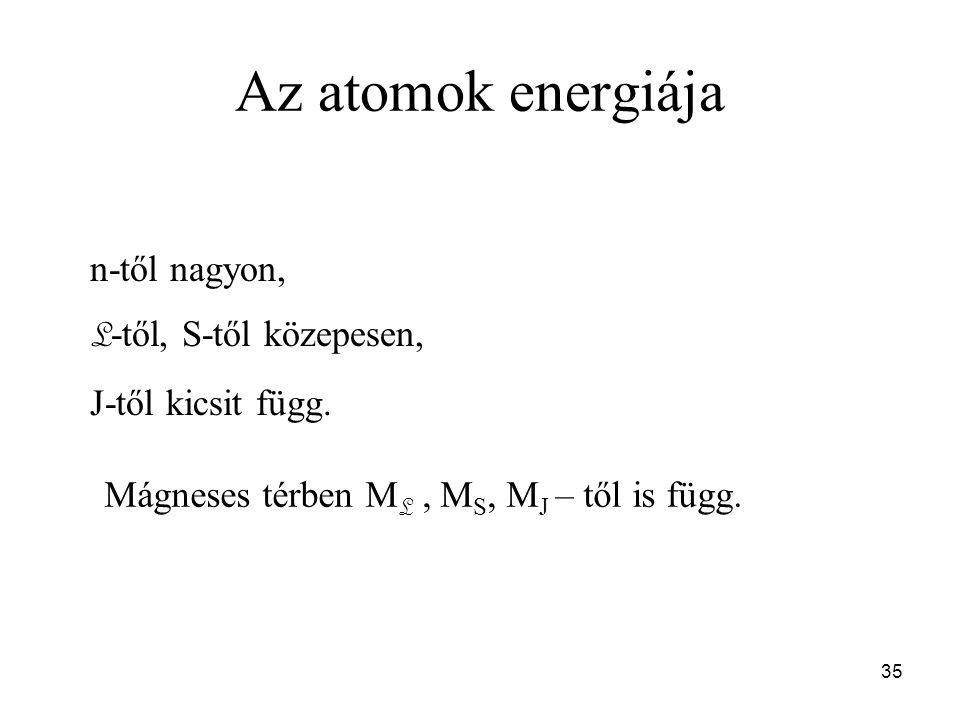 Az atomok energiája n-től nagyon, L-től, S-től közepesen,